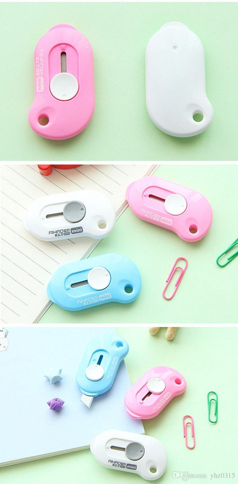 Office Stationery Small Mini Utility Knife Escolar Paper Cutter Cutting Paper Razor Blade School Supply Color Random