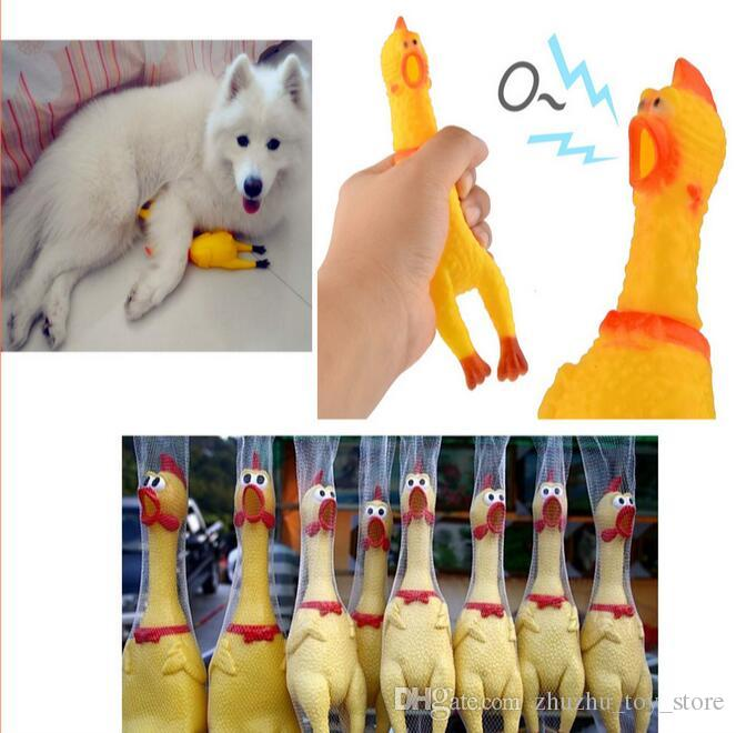 5pcs/lot Funny gadgets 42cm High Quality novelty Yellow rubber Dog Toy Fun Novelty Squawking Screaming Shrilling Rubber Chicken for kids