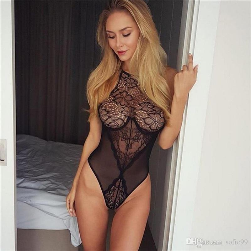 f73c9fb763 Sexy Halter See Through Black Lace Bodysuits Sleeveless Backless Nightclub  Party Jumpsuit Rompers Tight Overalls Women s Jumpsuits Rompers Online with  ...