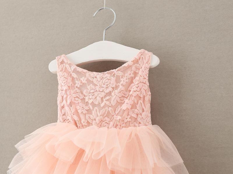 Дети Девочки Rose Lace Dresses 2017 Лето Девочка Розовый Рябить Dress Младенческая Принцесса Лук Цветок Party Dress Младенцы Оптовая Clothing S518