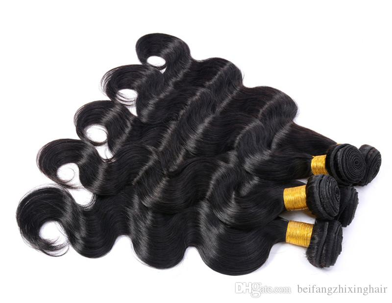 Factory Price -- 100% Human Hair Weaving Peruvian Virgin Human Hair Extension /95G Bundle with Body wave hair DHL free