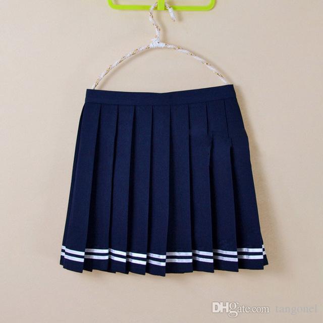 Compre Uniforme Escolar Coreano Para Niñas Falda Plisada Cosplay Falda  Japonesa Estudiante De Secundaria Linda Cintura Alta 4XL Minifalda Azul  Marino A ... 3a1b0e85fda4