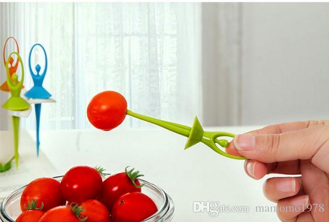 / 일본 한국 창조적 인 꽃 요정 과일 포크 세트 포크 칼 세트 식기 1 스탠드 홀더 + 6 포크 O 0315