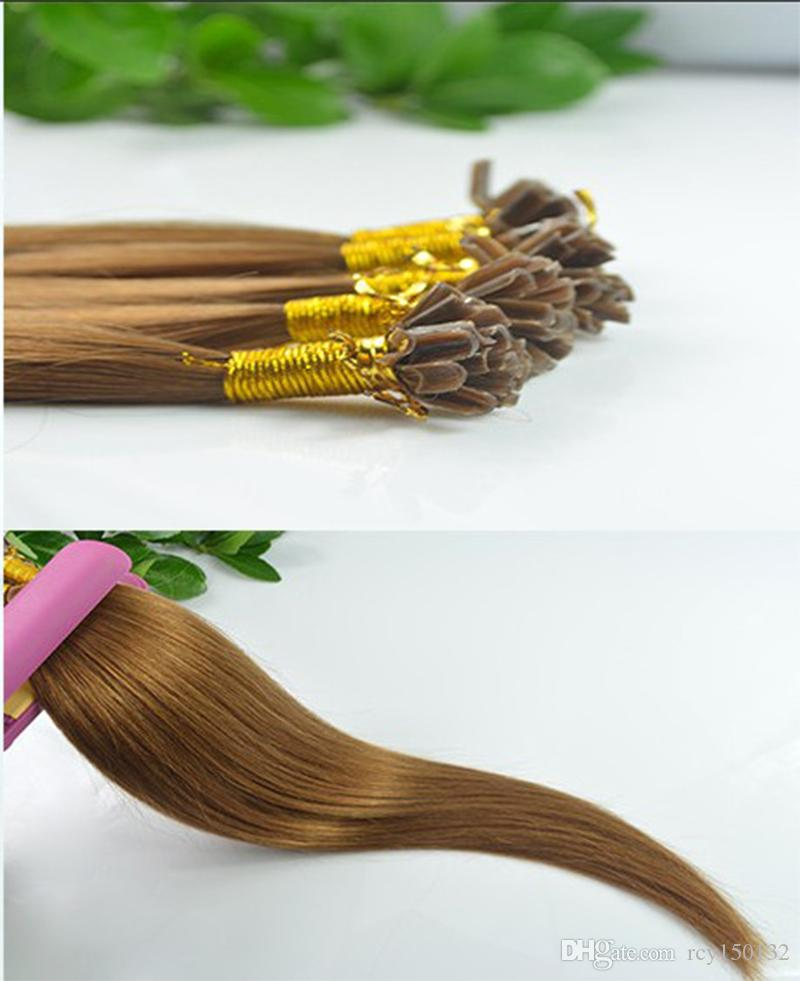 # 8 Castanho claro cabelo liso brasileiro u ponta extensão do cabelo 100g 100s pré ligado queratina vara ponta cabelo humano