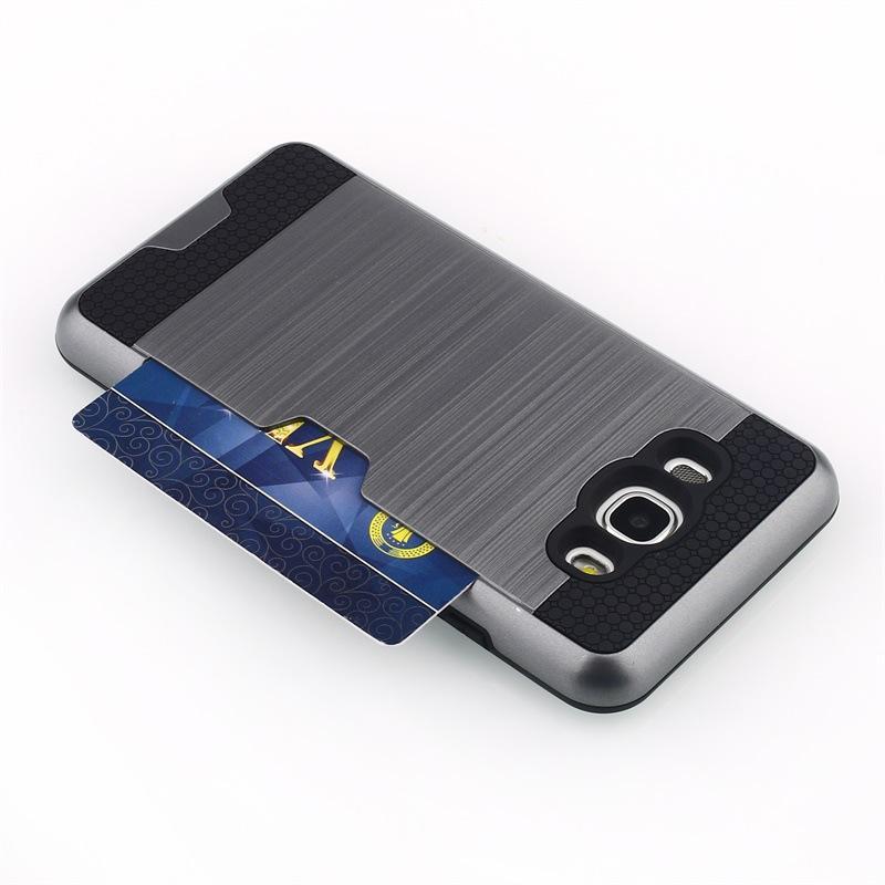 갑옷 TPU + PC 하이브리드 와이어 드로잉은 신용 카드 슬롯 케이스로 닦았 삼성 갤럭시 J1 에이스 J3 J5 J7 J310 J510 J710 J120 J2 프라임 HX