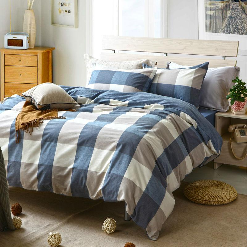 Wholesale Fashion Plaid Washed Cotton Grey White Blue Bedding Set