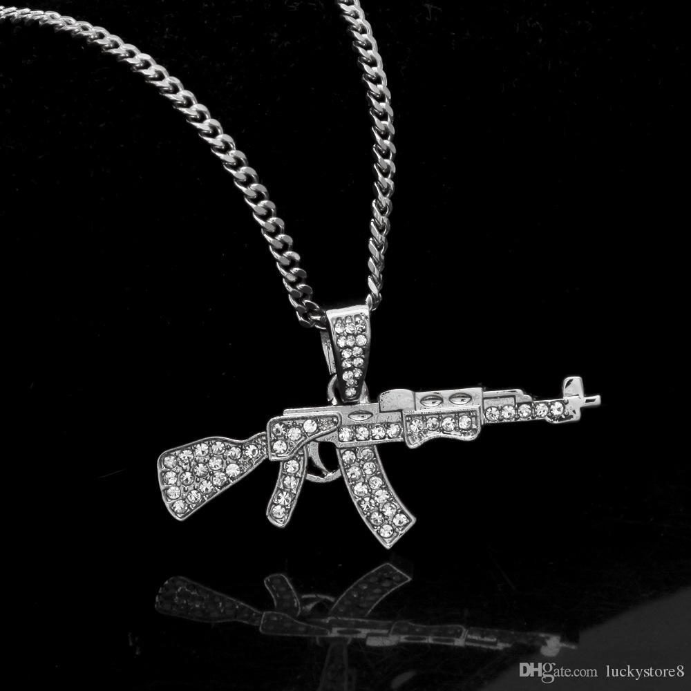 Mens 18k banhado a prata de ouro Icy CZ Hip-Hop AK-47 arma pingente de colar 3 mm 24
