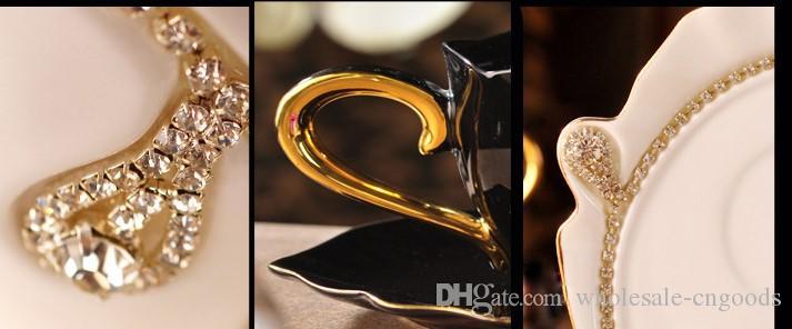 2017 venda quente copo De Café conjunto de cerâmica xícara de café Europeia e pires diamante amantes presente de luxo criativo