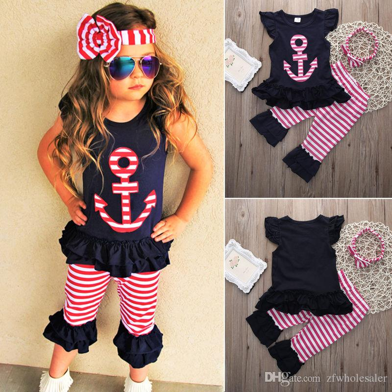 Baby Teen Little Girl Clothes Kids Clothing Set Toddler Tracksuit Infant Outfit Suit Vest Tops Pink Pants Headband Boutique Children costume