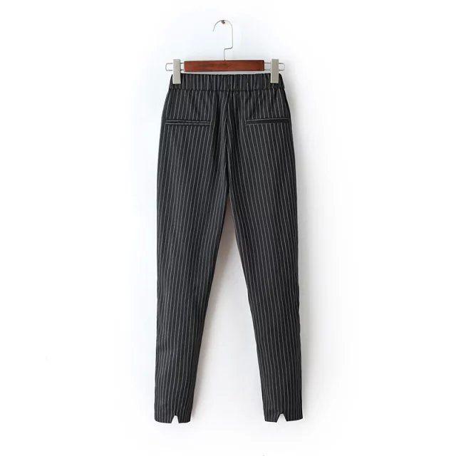Tangada Mode Femmes bureau Élégant Gris Rayé Imprimer Capris Pantalon Taille Élastique Pantalon De Poche Casual Femme Plus La Taille FA23