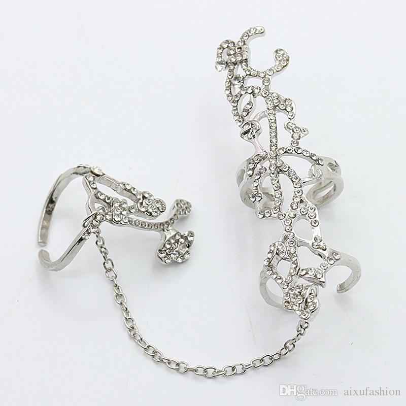 Nouvelle Arrivée De Mode Chaîne Anneaux Femme Bijoux Creux Diamant Rose Réglable Anneau Ouverture Meilleure Vente Or Argent Smart Anneaux
