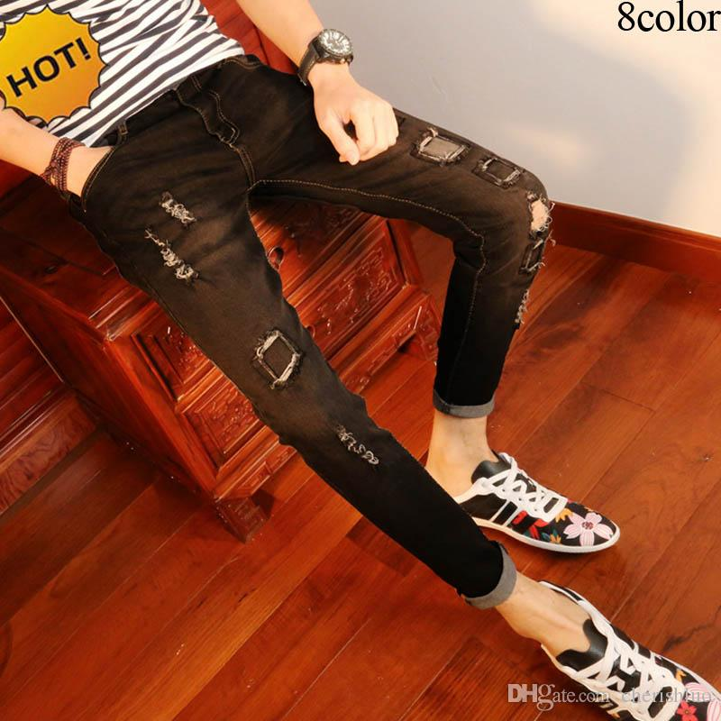 7c2f49a37 2019 New 2017 Spring Autumn Causal Ripped Hole Cheap Hip Hop Pencil Pants  Skinny Jeans Men Solid Leg Slim Fit Denim Teenager Biker Jeans 28 34 From  ...