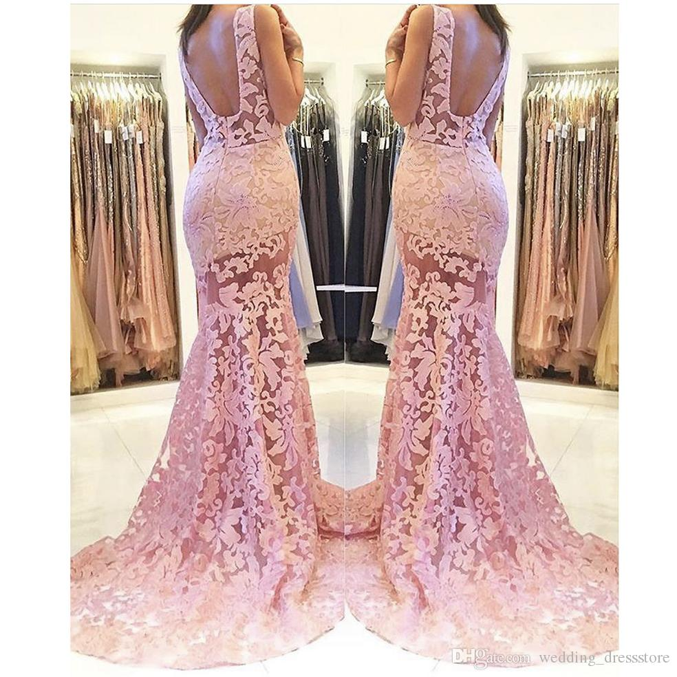 2018 Evening Gowns Simple Design Pink Scoop Neck Sleeveless Backless Mermaid Sheer Lace Prom Dresses