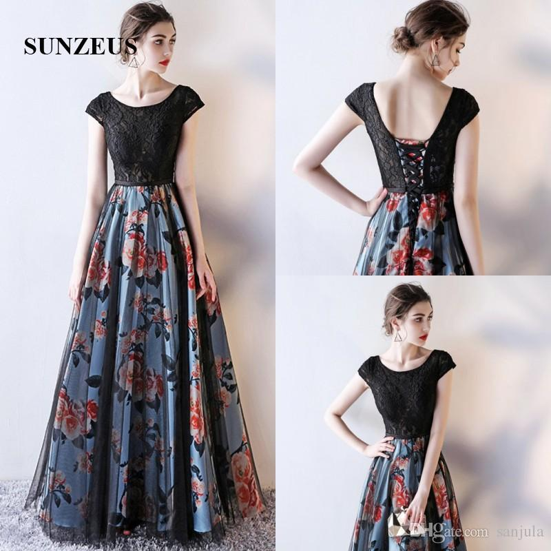 Cap Sleeve Black Lace Evening Dresses Scoop A Line Formal Gowns For Women  Printed Pattern Flowers Open Back Cheap Graduation Dresses Grecian Evening  Dresses ... 300695fc1