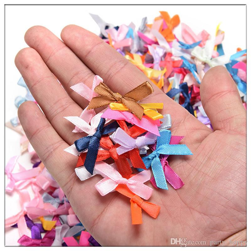 Mini Satin Ribbon Flowers Bows Gift DIY Craft Wedding Decoration Ornament RibbonGrosgrain SatinFlowers Manual Bow Flower Wedding Supplie