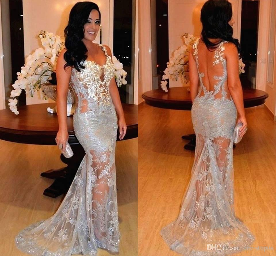 2017 sexy see through mermaid prom dresses sheer backless lace 2017 sexy see through mermaid prom dresses sheer backless lace appliques sweep train evening celebrity gowns women pageant dress floor length prom dresses ombrellifo Images