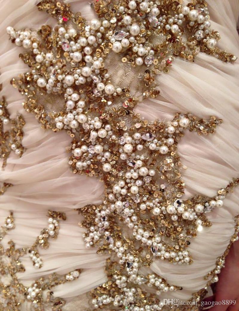 Vestidos de Novia 2019 뜨거운 판매 연인 웨딩 드레스 인어 가운 드 Mariage 사용자 정의 만든 고급스러운 골드 진주 구슬 웨딩 드레스