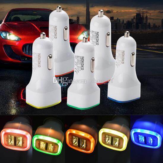 Foguete Projeto LED luz 5V 2A Dual USB adaptador para carro carregador para Samsung S10 Galaxy S7 Universal