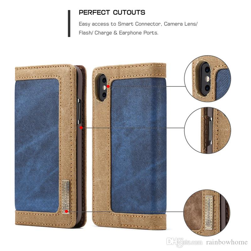 Caseme Leather Wallet Pouch Case for iphone 11 Pro XR XS Max X Galaxy S10E Note10 Retro Canvas Stand Card Photo Magnetic Cover