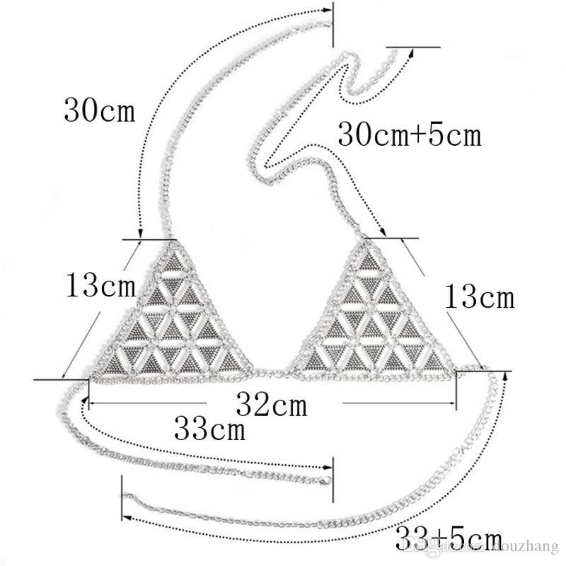 Mulheres Sexy Cadeia Corpo de Metal Biquíni Bra Net Triangle Slave Harness V Colar Cintura Barriga Cadeia de Jóias Para O Presente Lote