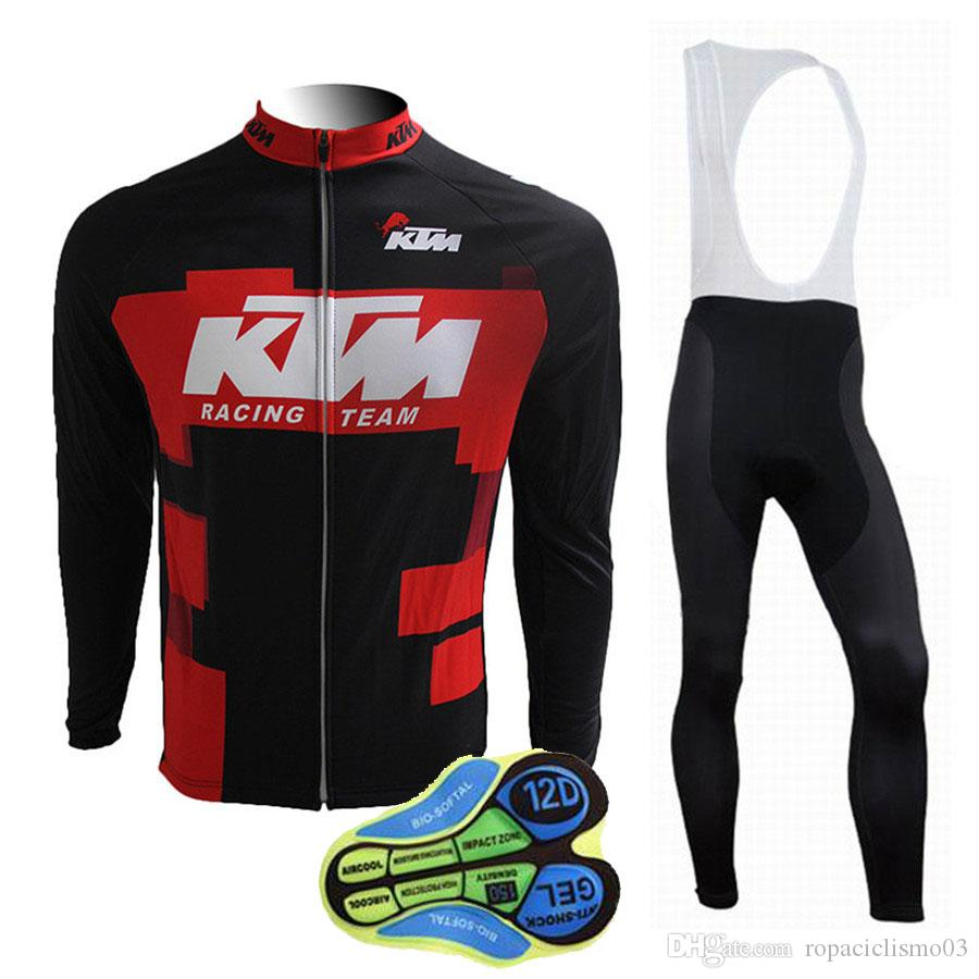 KTM Cycling Jersey Long Sleeves Maillot Ciclismo Mtb Cycling Clothing  Bicicleta Cycling Clothing Bib Pants with Gel Pad Autumn Spring Style Ropa  Ciclismo ... b955a612f