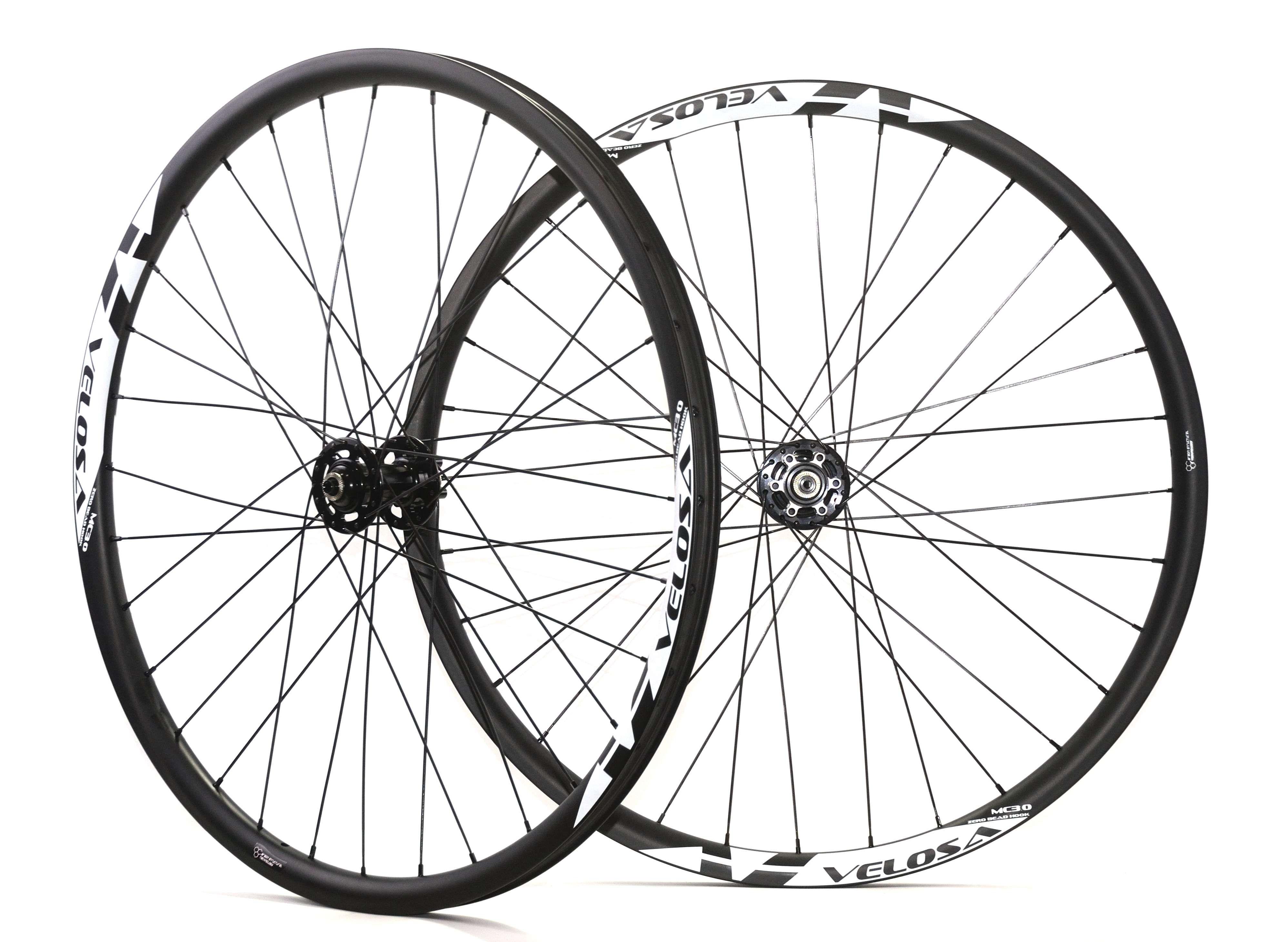Velosa 29 inç MTB karbon tekerlek, 29er karbon MTB AM / DH tekerlekler, Thru aks hub, dağ bisikleti tekerlek kancasız jant tubeless uyumlu