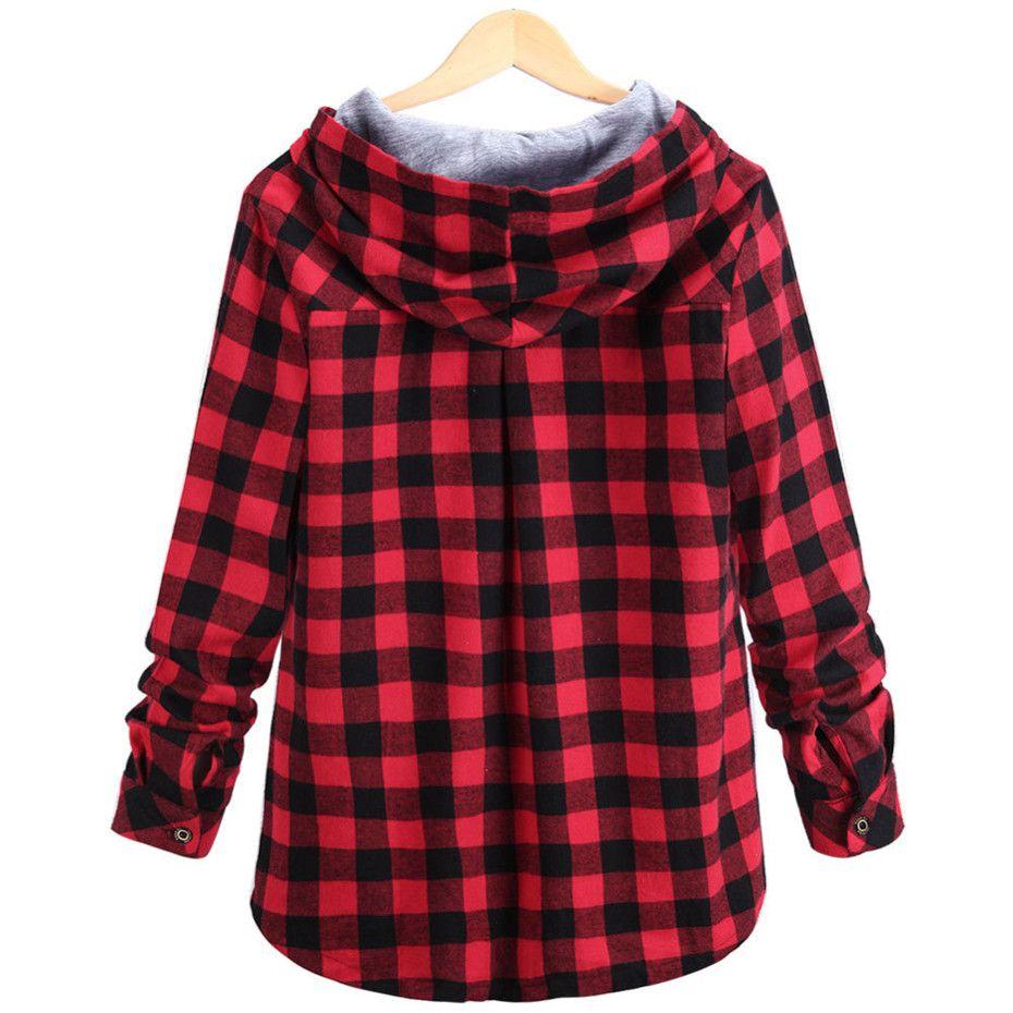 Fashion Women Spring Autumn Red Blue Cotton Casual Button Hooded Sweatshirt Oversize Coat Ladies Long Sleeve Plaid Hoodies Plus 2XL