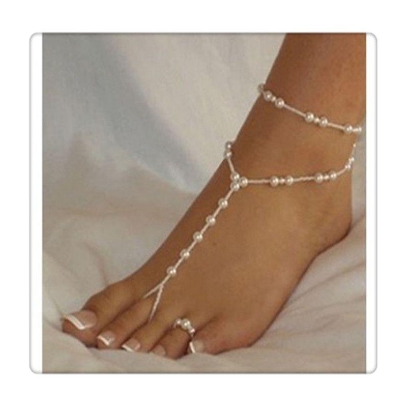Moda Ayak Yüzük Kadınlar Plaj Takı İmitasyon İnci Yalınayak Sandalet Ayak Takı Halhal Zincirler Kristal Ayak Takı Ücretsiz Kargo