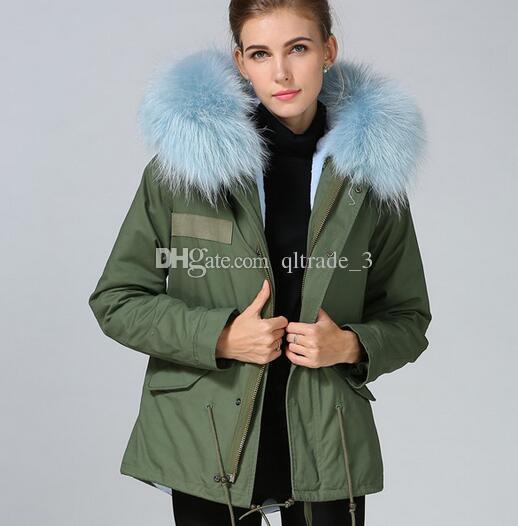 2018 Light Blue Fur Army Green Parka Mr Mrs Furs Mini Coats Mr Mrs ...