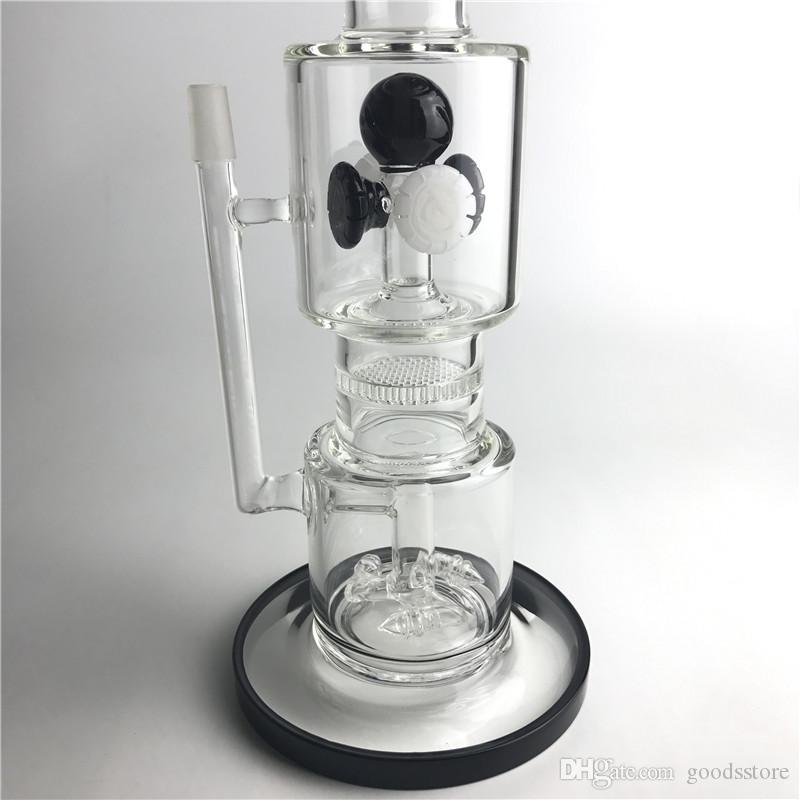 New 14mm Glass Bongs Water Pipes with 13.5 Inch 1 KG 3 Filter Rotary Cyclone Honeycomb Thick Pyrex Recycler Heady Beaker Bong