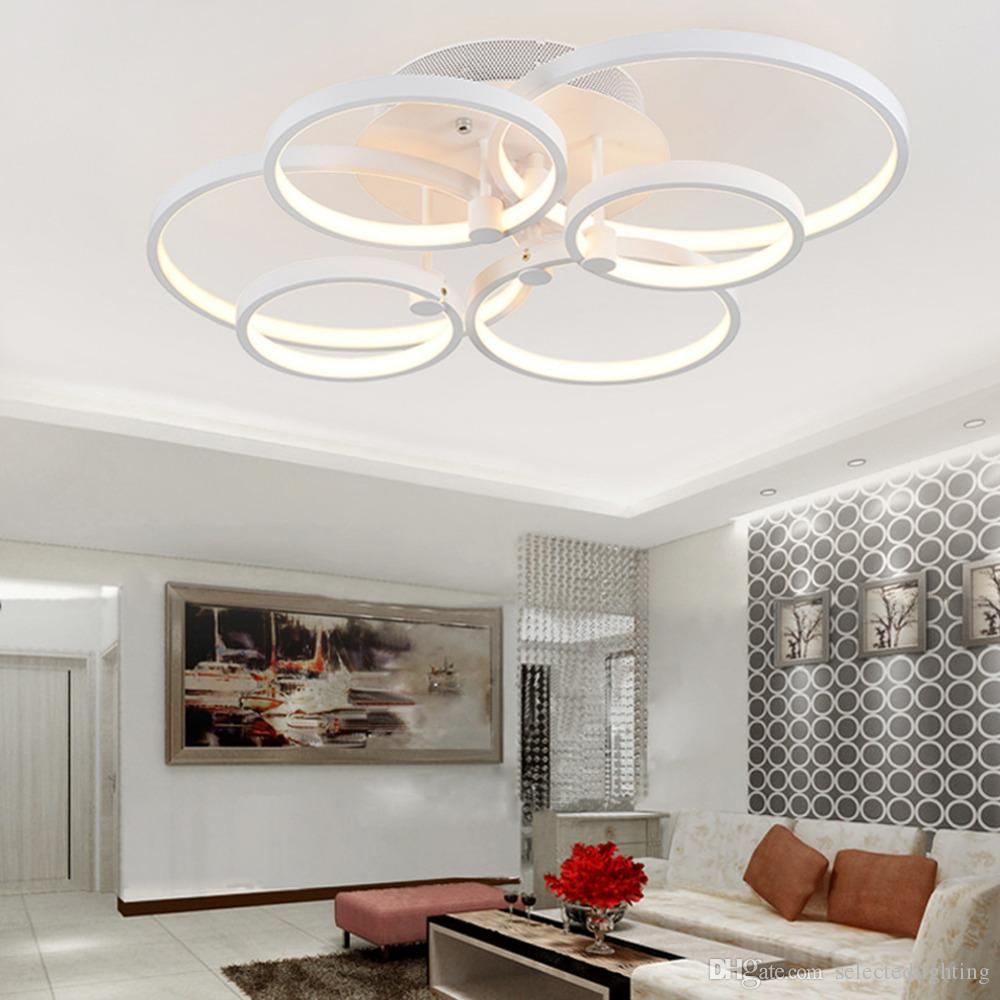 Modern ceiling lights circle ring ceiling pendant lighting dimming light home decor ceiling lamps 4 rings 6 rings 8 rings 110v 220v