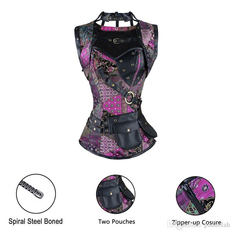 Sexy Retro Lingerie Women Steel Boned Overbust Gothic Corset Steampunk Clothing Sexy Costumers Corpete Corselet Plus Size Waist Trainer Vest