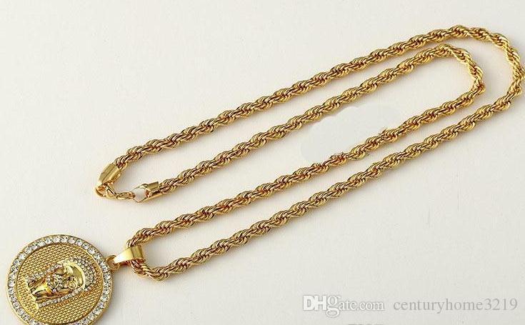 Hot Selling 24K Gold Plated Jesus face head Round Crystal Pendant Necklace Hip hop Rap Golden Rock Pendant Cuban Chain Necklace Men Jewelry