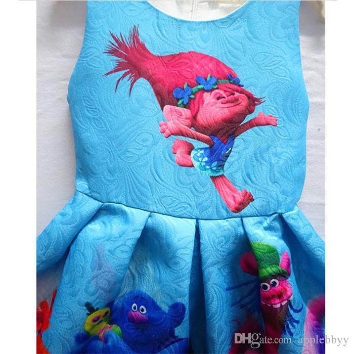 Trolls Robe plissée de bande dessinée Trolls impression Princesse robes sans manches Enfants Vêtements fille robes de princesse, livraison gratuite