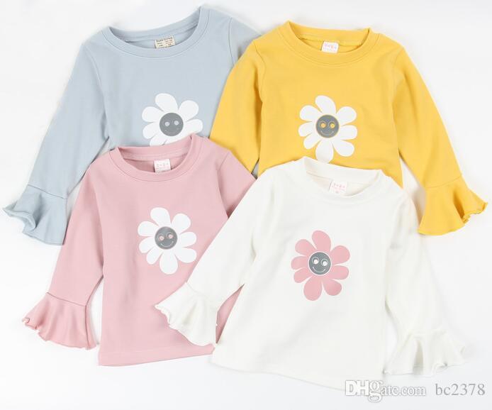 d54641ec31be1 Acheter T Shirt À Fleurs Imprimé À Manches Bell Bell T Shirt 100% Coton  Automne Style Plus Épais 4 Couleurs Choix Taille De Mélange De  74.15 Du  Bc2378 ...