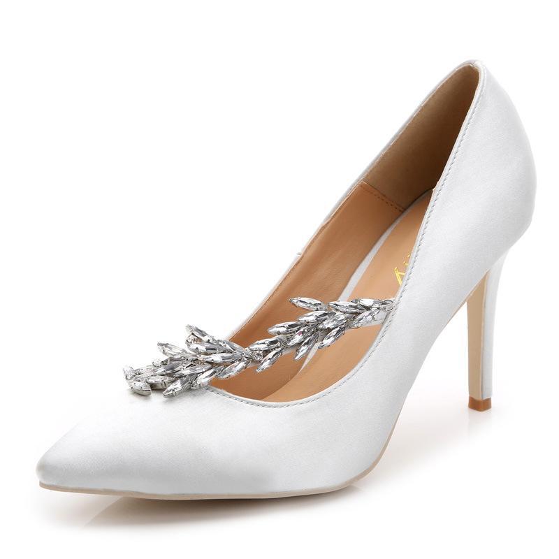 Abiti da sposa in raso di seta tacchi alti la sposa 2017 i 9 centimetri fucsia nero bianco argento viola blu rosso ritorno a casa scarpe da sera