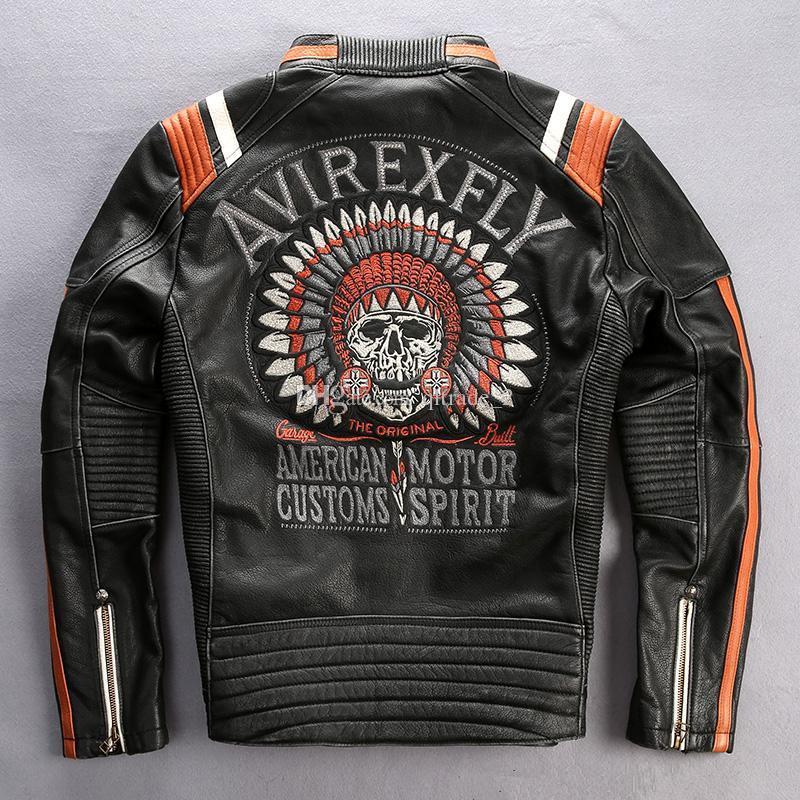 アメリカの税関Avirexfly機関車ジャケットモーター精神純正オートバイレザージャケットビンテージ牛レザー刺繍バック