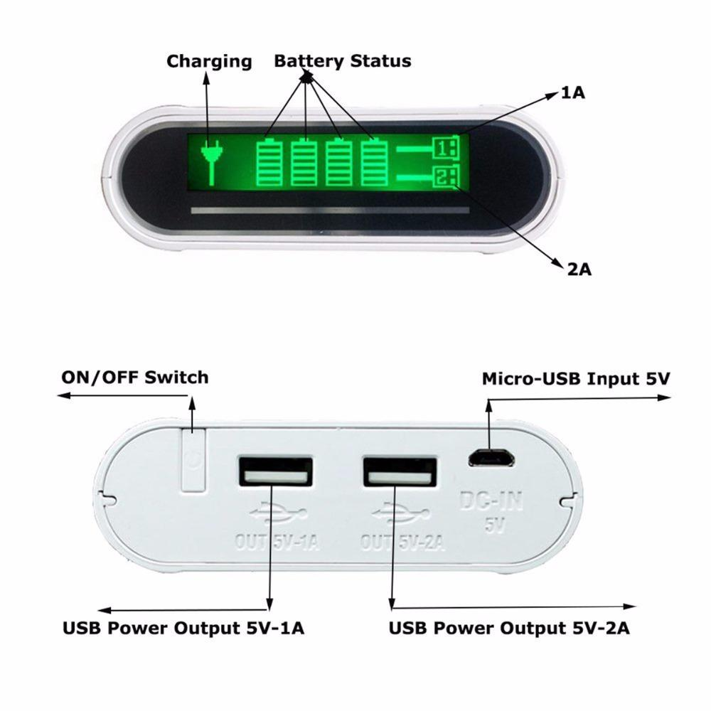 TOMO Multi Function Power Bank 4 x 18650 Battery Charger Case DIY LCD Digital Display 5V 2A Output High Capacity Dual USB