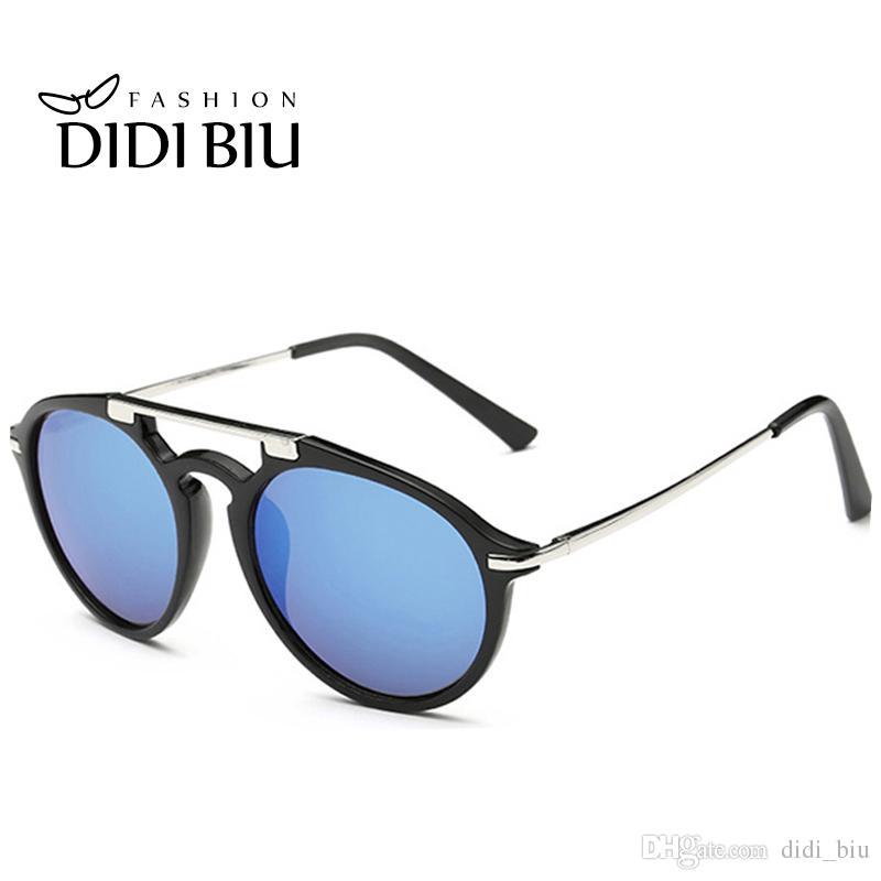 0404fdc54c Compre DIDI Vintage Redondo Espejo Gafas De Sol Mujeres Hombres Pequeño  Círculo Lente Gafas Playa Verano Gafas Ovaladas Gafas Plano Superior  Leopardo Oculos ...