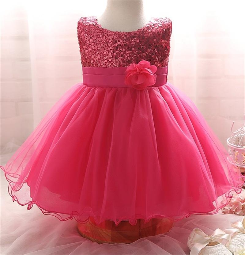 794d82655e247 Wholesale- Hot 2017 Toddler Baby Girls Clothes For Girls Ceremonies Party  Wear Flower Kids Dresses Sequined Formal Dress For Infant 0-2Yrs