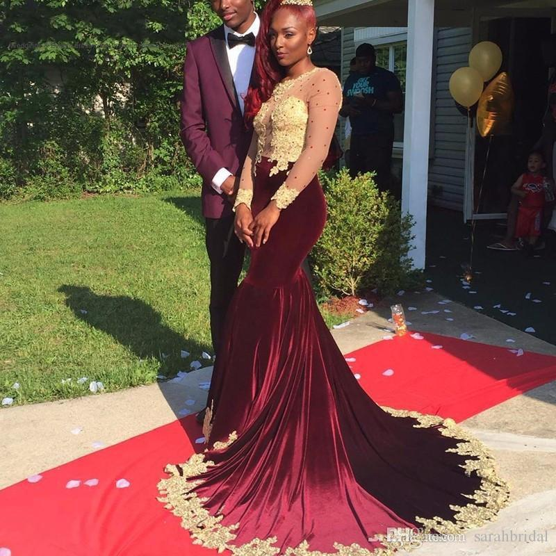 Elegant Burgundy Velvet Mermaid Formal Evening Dresses With Gold Lace 2019 Sheer Long Sleeve Court Train Arabic Women Prom Party Gowns Cheap