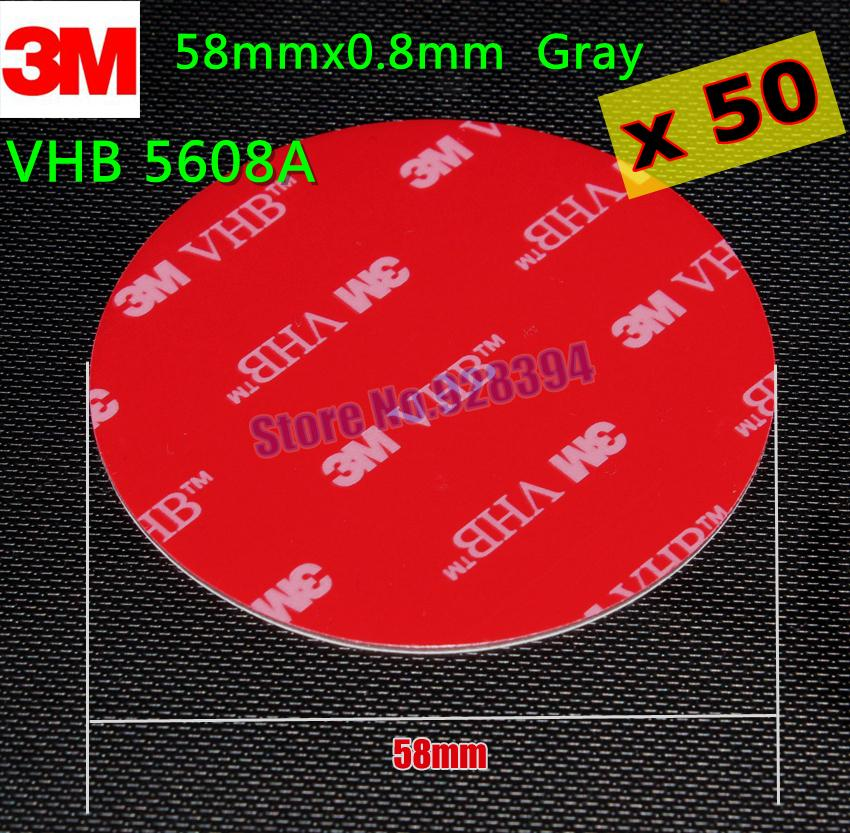 Wholesale- 2016 50Pcs/lot 58mm Round 3M VHB 5608 Double Sided Adhesive  Acrylic Foam Tape Mounting Tape Gray