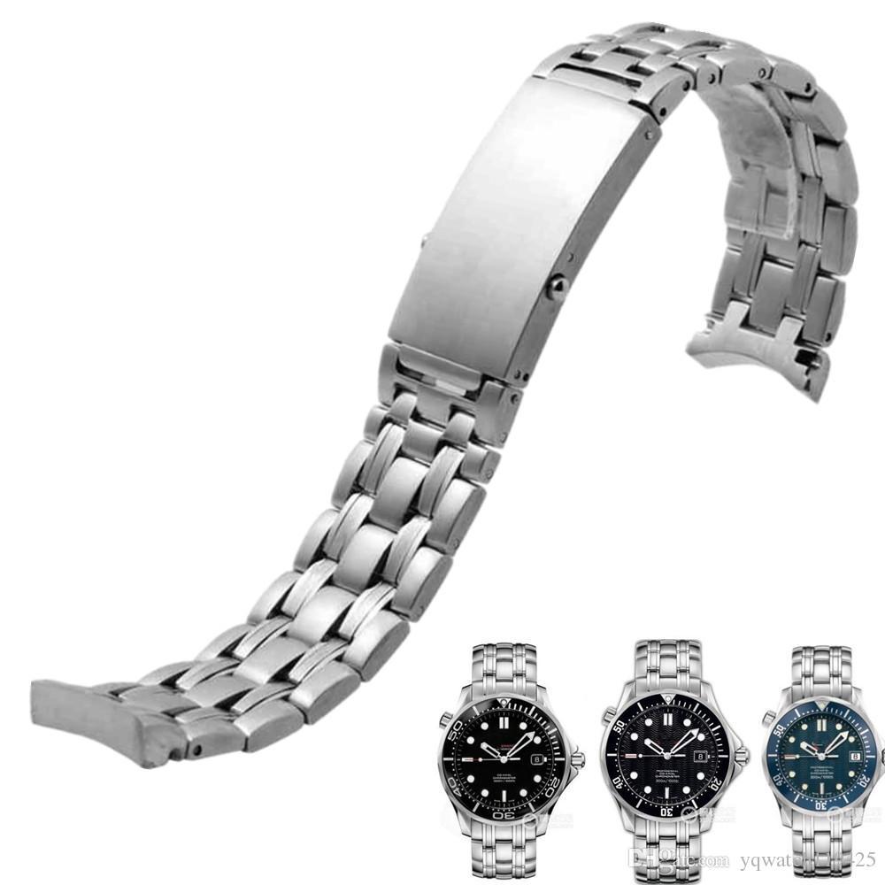 0ba6524e238 Compre Pulseira De Aço Inoxidável Sólido 20mm 22mm Pulseira De Relógio De  Prata Para Omega 007 Strap Relógio Dos Homens Banda + Ferramentas Gratuitas  De ...