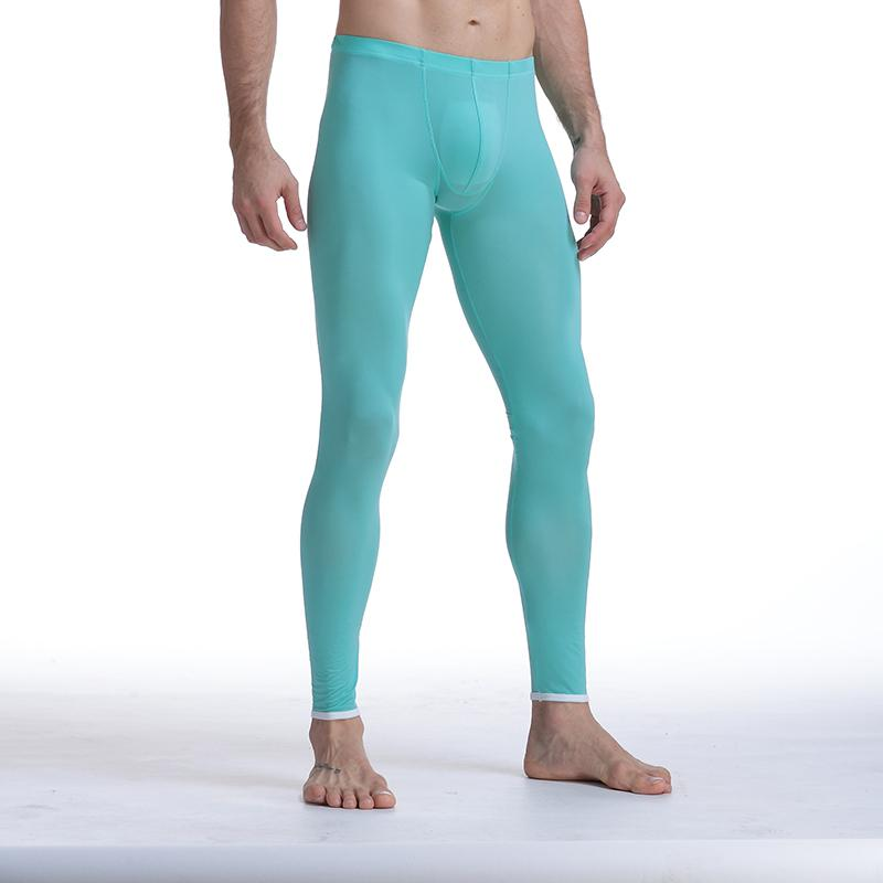 Sexy Men Mesh Transparent Mesh Erotic Ultra-thin Gay Long Johns Ice Silk Leggings Pants Tights Casual Long Underpants Men Pants Sheer
