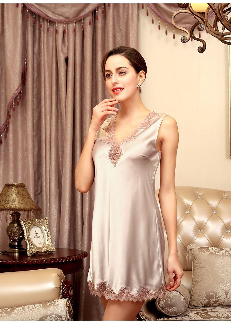Sexy Lingerie for Women Satin Sleepwear Nightgown Silk Chemise Casual lace sleep wear nightgowns sleepshirts nightdress SJYT36