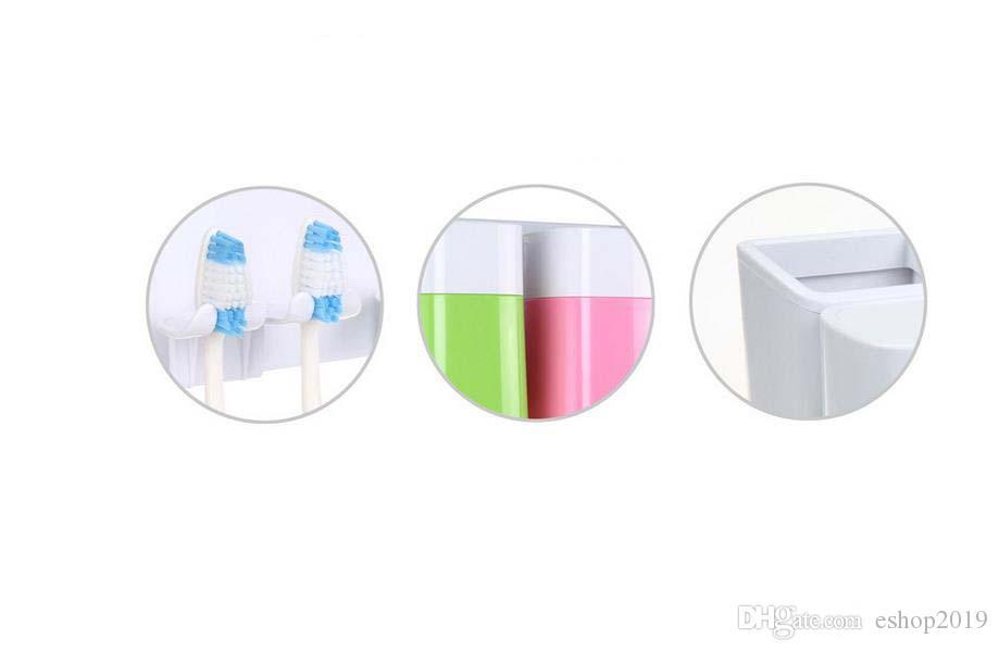 2017 nuevo feliz familyToothbrush Wall Succión conjuntos de baño tazas Sucker cepillo de dientes titular / ganchos de succión envío gratis