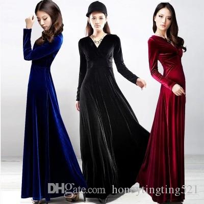 9c034f13e2e2c European fashion new design women s autumn winter v-neck long sleeve high  waist velvet maxi long party dress plus size S M L XL XXL 3XL