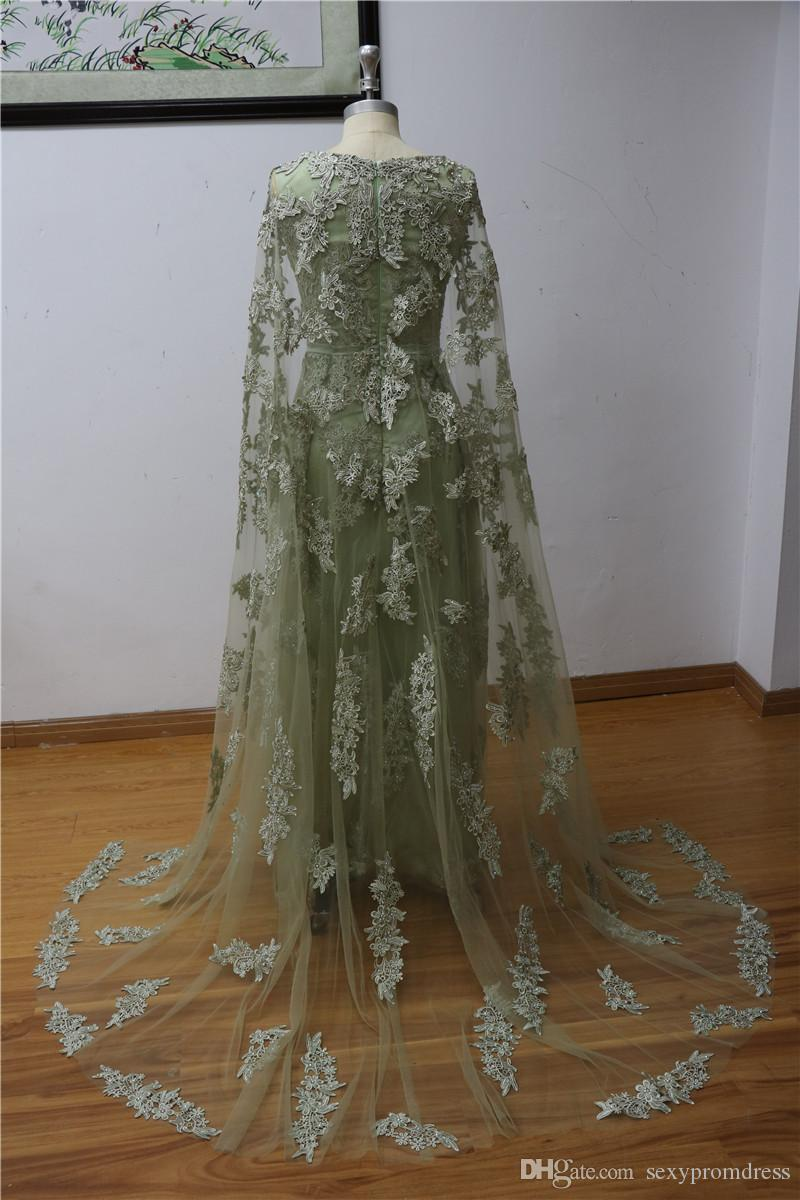100% Real Image Elie Saab Prom Dresses Sheer See Through Sparkly Appliques Evening Gowns With Cloak Formal Party Runway Dresses Custom Made