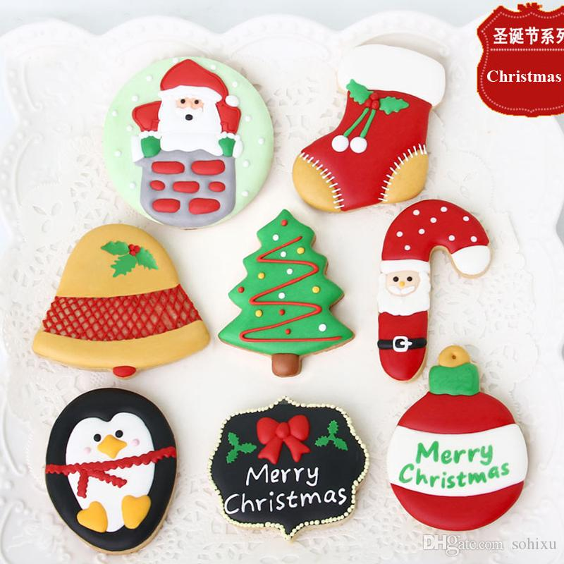 7pcs Christmas Decoration Tree Bell Patisserie Reposteria Moldes Metal Cookie Cutter Fondant Cake Tools Biscuit Pastry Shop Kitchen Bakery