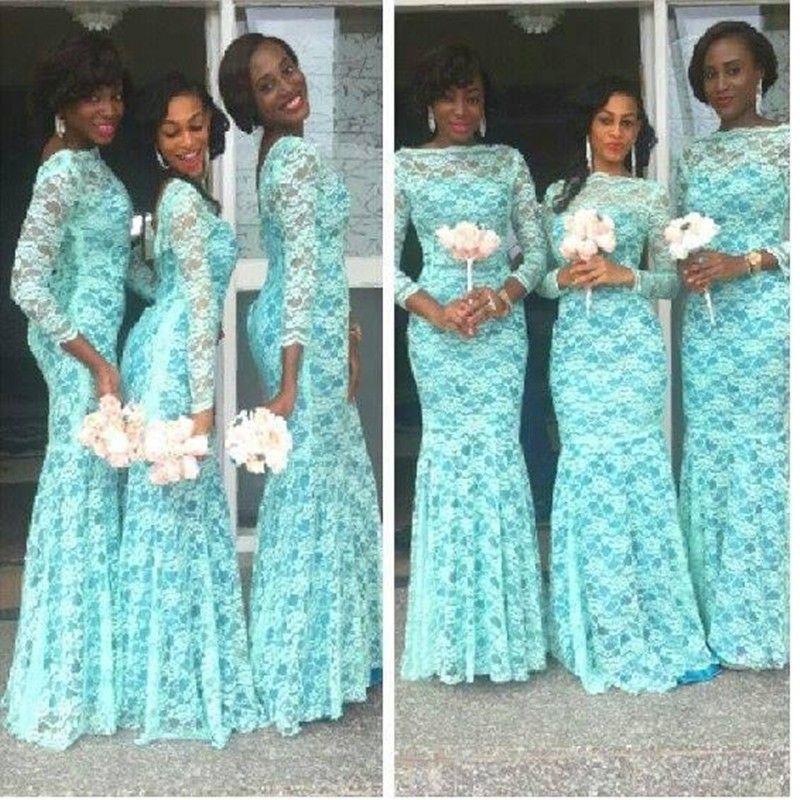 Elegant Aqua Blue African Bridesmaid Dress Long Sleeves Dubai Dresses Plus  Size Lace Bateau Neckline Nigerian Bridesmaid Gowns Long Purple Bridesmaid  ...